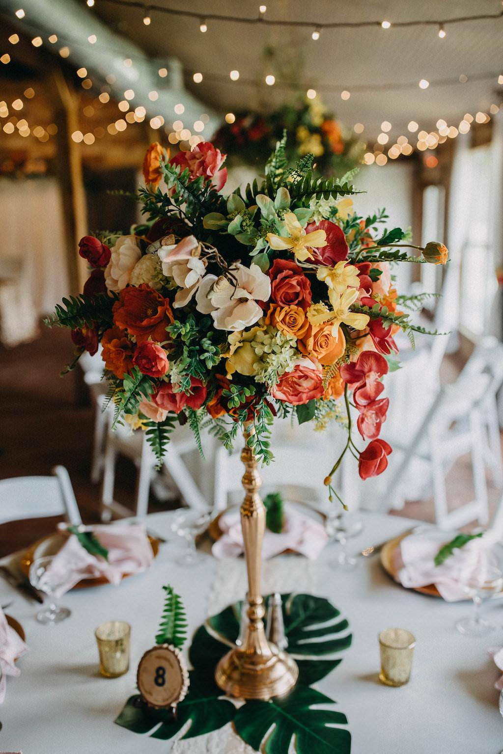 Tropical Inspired Wedding Reception Decor Tall Centerpiece