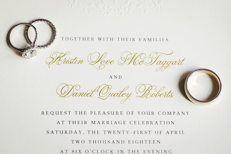 Modern Elegant Wedding Invitation with Gold Calligraphy, Round Diamond Halo Engagement Ring and Wedding Rings