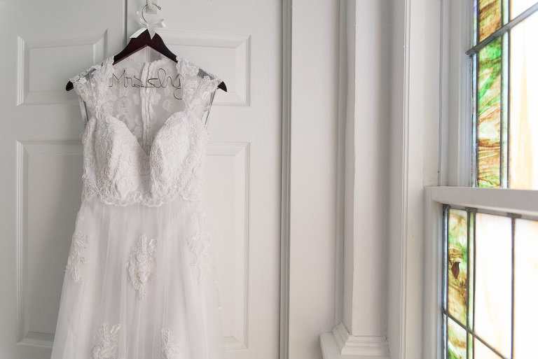 A-Line Lace Wedding Dress Lace Cap Sleeves on Personalized Hanger | Tampa Bay Photographer Kristen Marie Photography