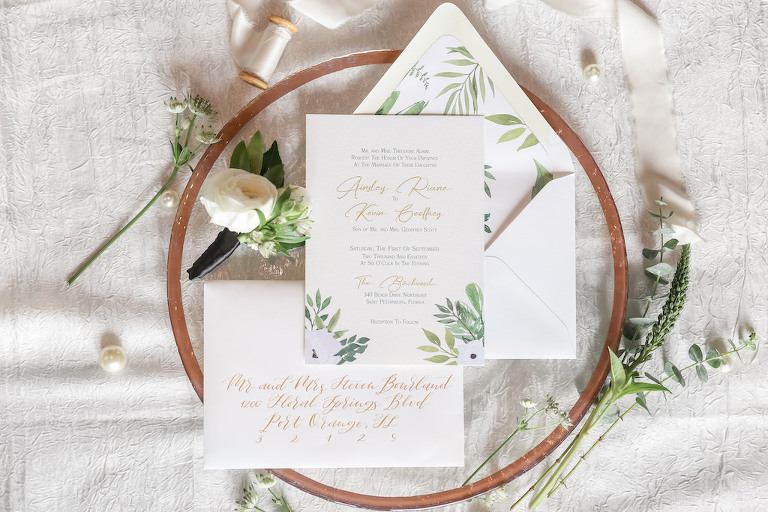 Elegant Modern Bohemian Inspired White with Gold Script, Hand Painted Anemones and Greenery Wedding Invitations on Circular Accessory with Real White Rose and Greenery Florals | Tampa Bay Photographer Lifelong Photography Studios | Stationary Sarah Bubar Designs | Florist Cotton & Magnolia | Planner Parties A'La Carte