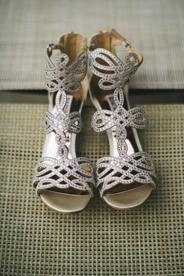 Silver Metallic Rhinestone Wedding Sandal