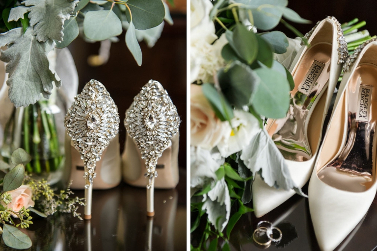 Ivory Badgley Mischka Pointed Toe Rhinestone Heel Wedding Shoes | Tampa Bay Photographer Andi Diamond Photography
