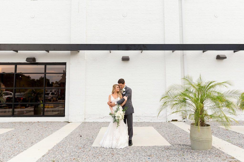 Outdoor Bride and Groom Wedding Portrait | Tampa Bay Photographer Andi Diamond Photography | Industrial Lakeland Wedding Venue Haus 820