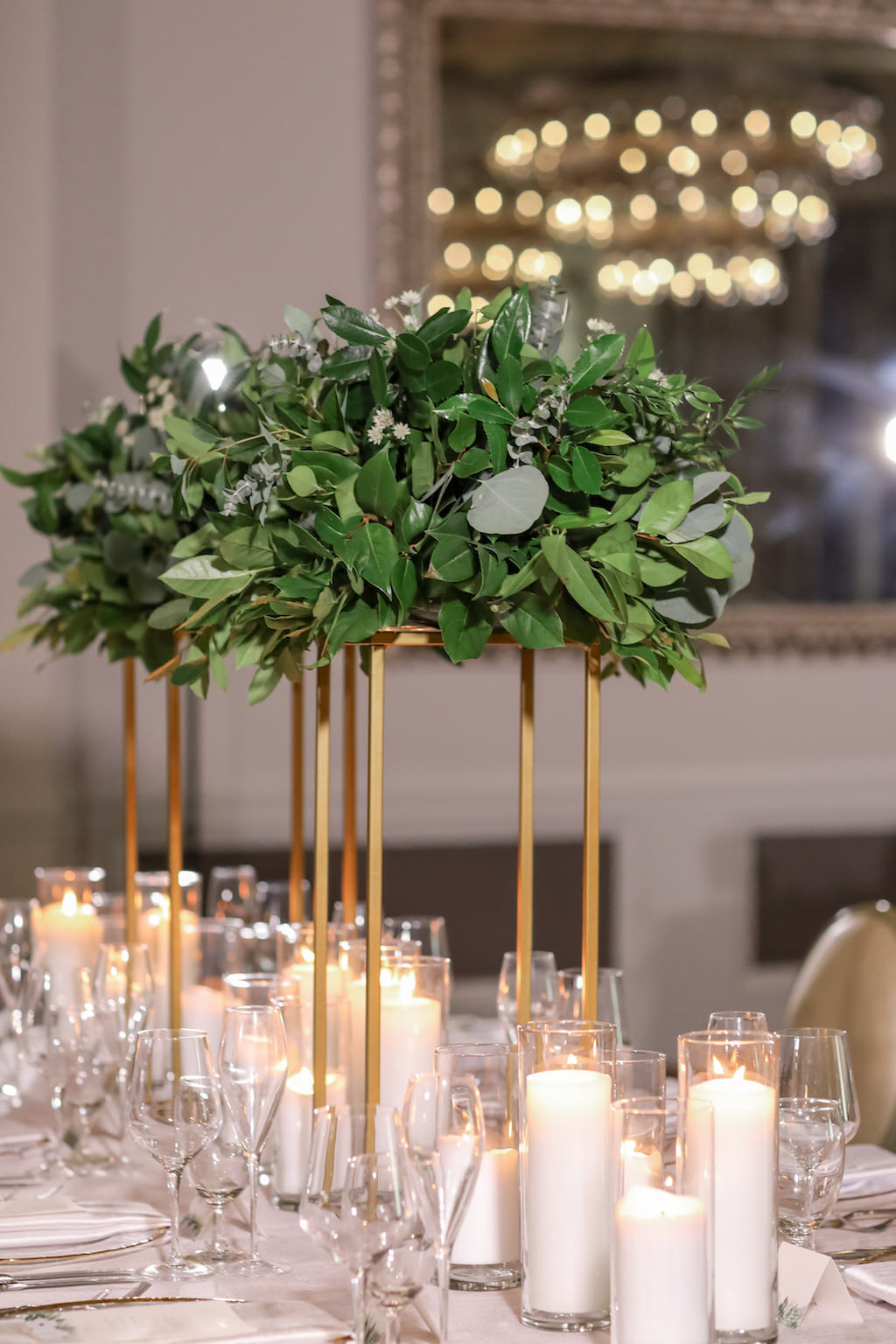 Elegant Bohemian Ballroom Wedding Reception Decor Tall