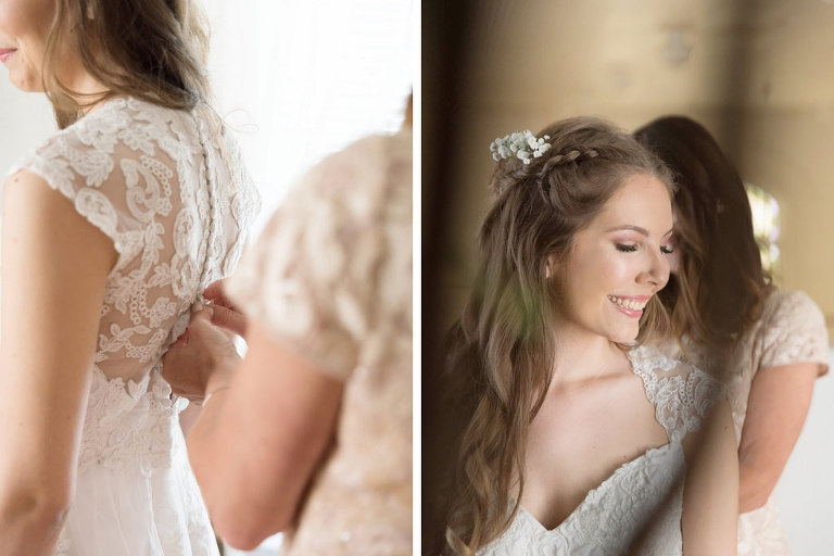 Bride Getting Ready Portrait in Lace Cap Sleeve Weding Dress and Braided Wavy Hairstyle | Tampa Bay Photographer Kristen Marie Photography