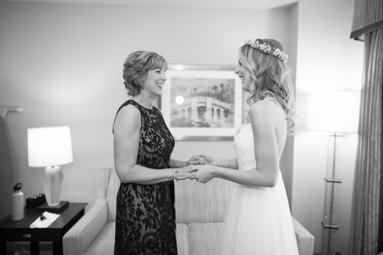 Bride and Mother of the Bride Wedding Portrait, Bride with Curled Hair Down and Floral Crown Hairpiece | Tampa Bay Hair and Makeup Femme Akoi Beauty Studio