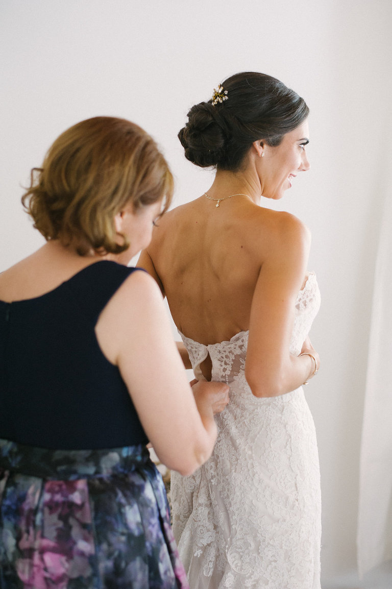Bride Getting Ready Wedding Portrait with Mom in Strapless and Lace Wedding Dress | St. Petersburg Hair and Makeup Femme Akoi