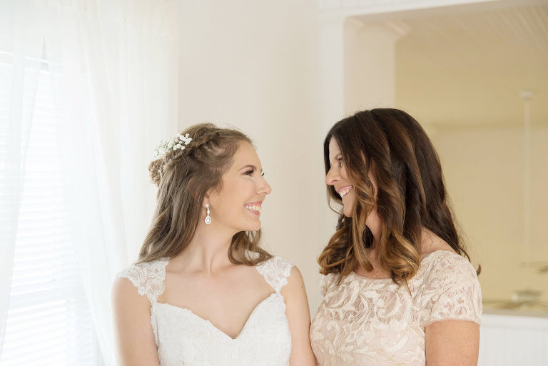 Bride Getting Ready Portrait in Lace Cap Sleeve Weding Dress and Braided Wavy Hairstyle and Mother of the Bride | Tampa Bay Photographer Kristen Marie Photography