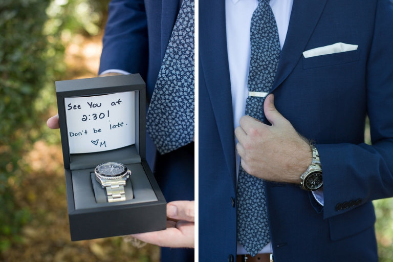 Groom with Watch Wedding Gift from Bride in Navy Blue Suit, Blue Floral Print Tie and White Pocket Square