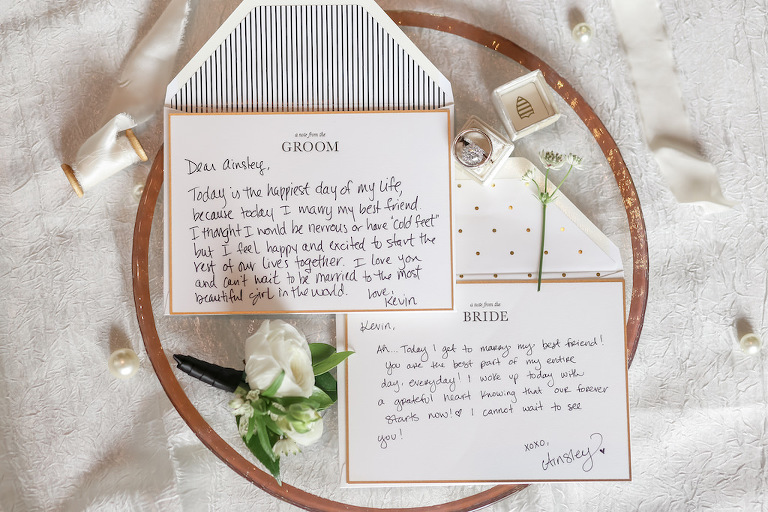 Bride and Groom Personalized Wedding Letters on Large Wooden Ring, Round Diamond Engagement Ring in Ivory Velvet Ring Box | Tampa Bay Photographer Lifelong Photography Studios | Stationary Sarah Bubar Designs | Planner Parties A'La Carte