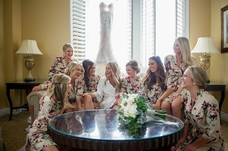 Bride and Bridesmaids Getting Ready Portrait, Bridesmaids in Floral and Ivory Silk Robes | Tampa Bay Photographer Andi Diamond Photography | Hair and Makeup Michele Renee the Studio