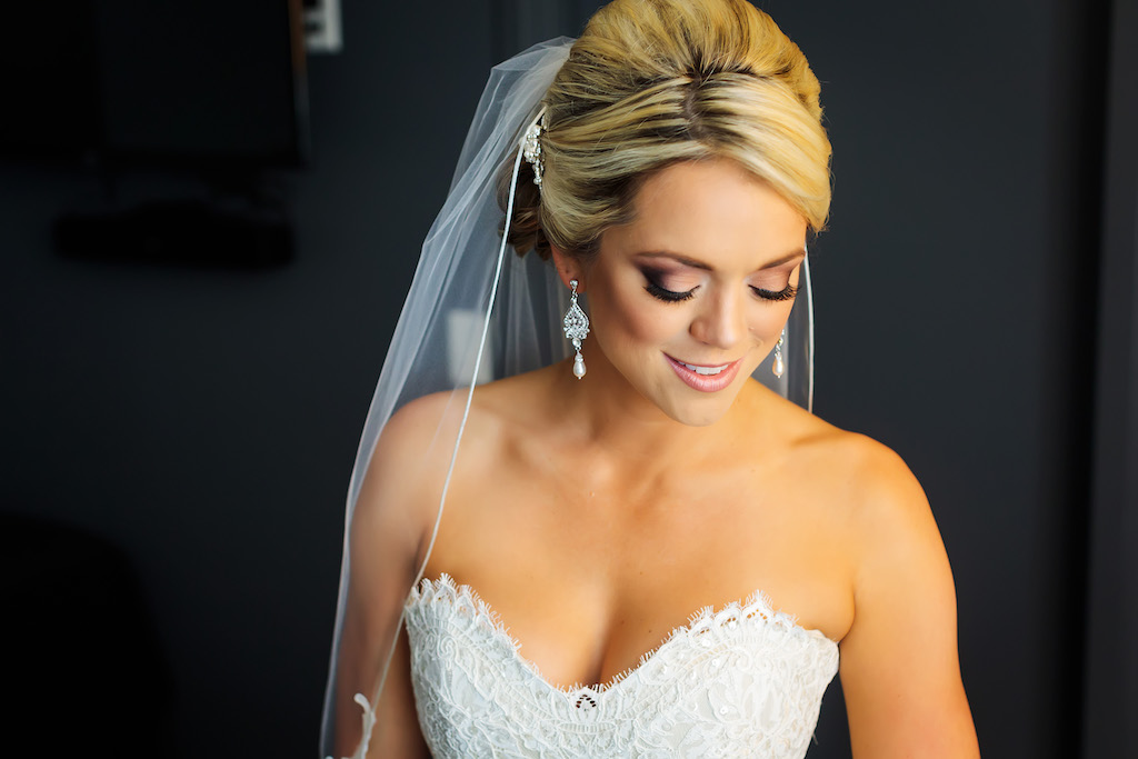 Bride Wedding Portrait With Updo Lace Sweetheart Strapless