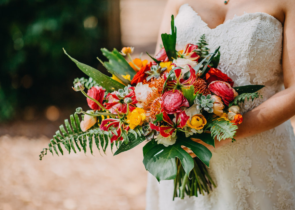 Tropical Pink Yellow Orange Red And Greenery Floral Wedding Bouquet Tampa Bay Photographer Rad Red Creative 21 Marry Me Tampa Bay Local Real Wedding Inspiration Vendor Recommendation Reviews