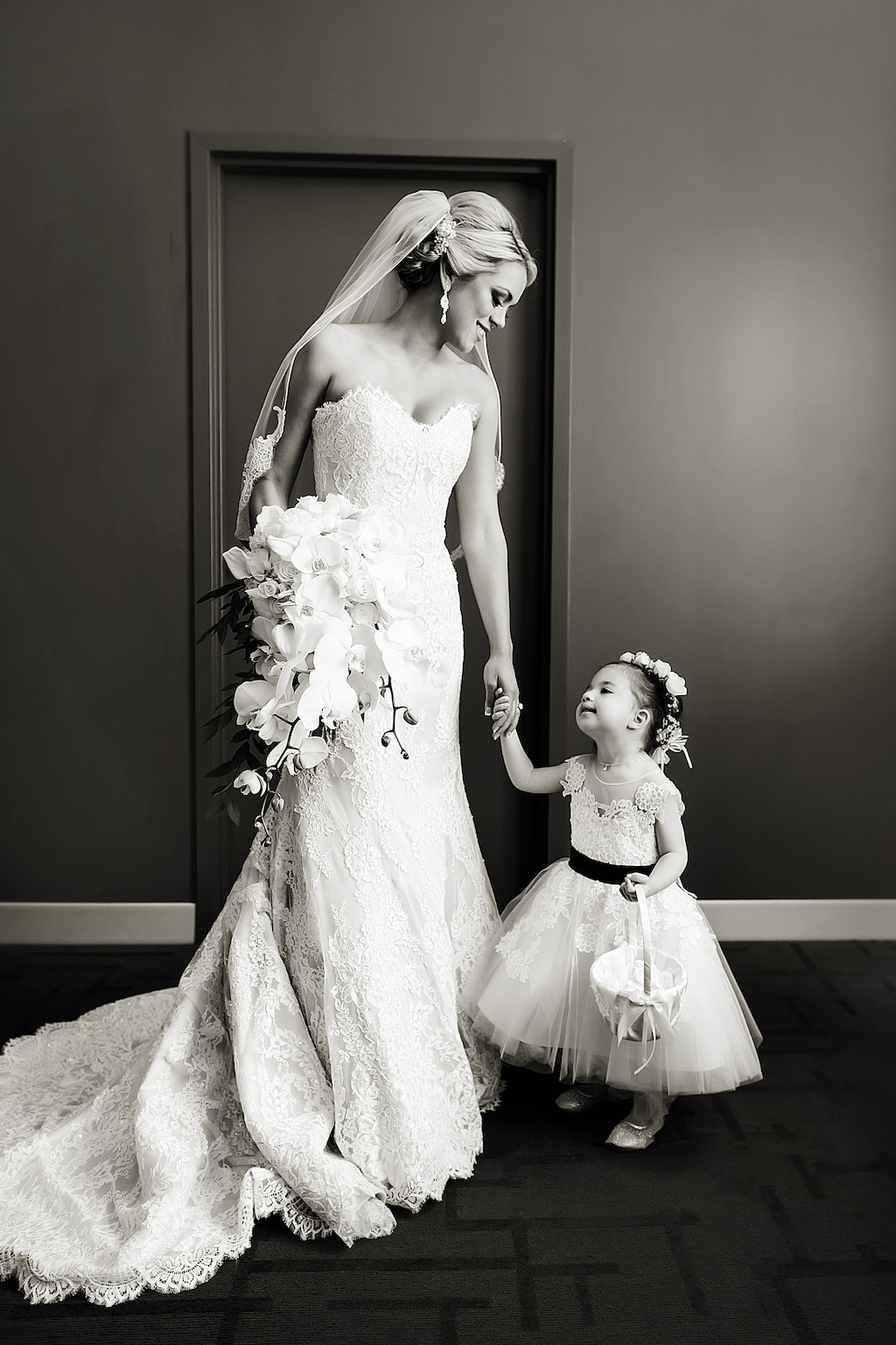 Bride Wedding Portrait In Lace Sweetheart Strapless Fit And Flare