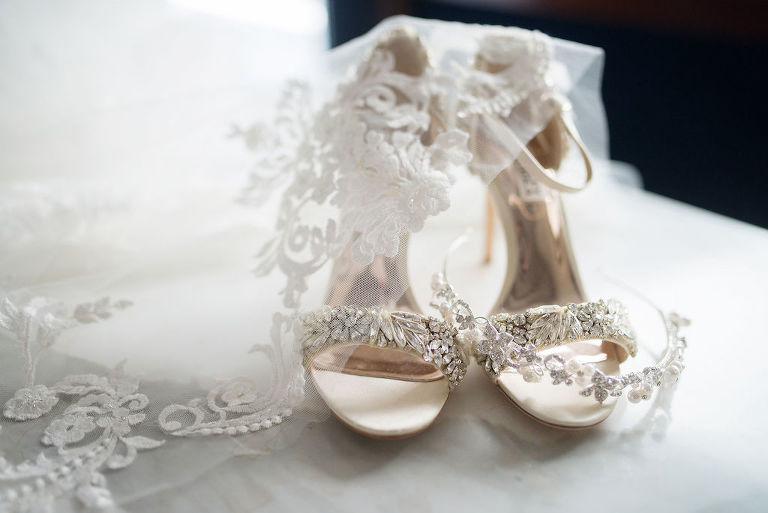 Crystal Rhinestone Embellished Open Toe Strappy Ivory Wedding Shoes, Rhinestone and Pearl Headband and Lace Veil | Tampa Bay Wedding Photographer Kristen Marie Photography