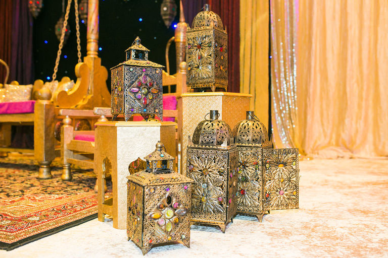 Glamorous Indian Wedding Decor, Gold Lanterns with Colorful Jewels and Gold Pedestals
