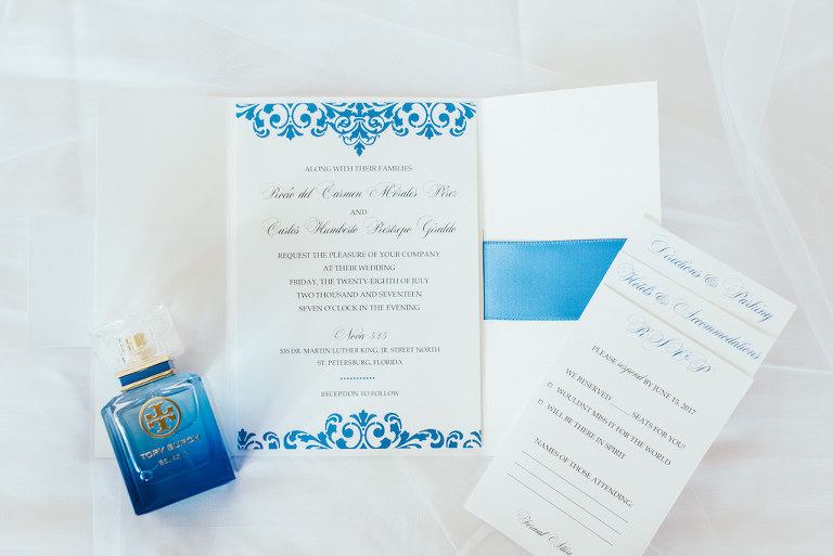 Blue and White Spanish Inspired Wedding Invitation Suite and Tory Burch Perfume Bottle
