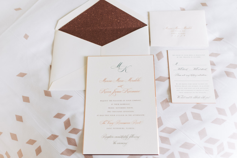 Modern Elegant Wedding Invitation Suite with Gold Foil Accents | Tampa Bay Stationary and Wedding Invitations URBANcoast
