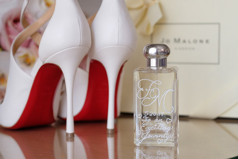 White Christian Louboutin Wedding Day Heels with Custom Perfume Bottle | Wedding Gifts for Bride