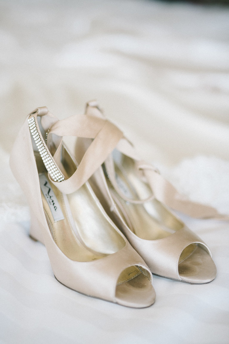 Champagne Peep Toe Wedge Heel Satin and Rhinestone Strap Wedding Shoes | Tampa Bay Photographer Kera Photography