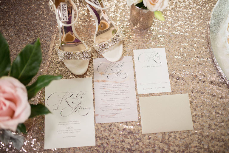 Elegant Modern Wedding Invitation Suite, Crystal Rhinestone Embellished Open Toe Strappy Ivory Wedding Shoes on Sparkle Gold Linen | Tampa Bay Wedding Photographer Kristen Marie Photography | Rentals Kate Ryan Event Rentals | Stationary A&P Designs