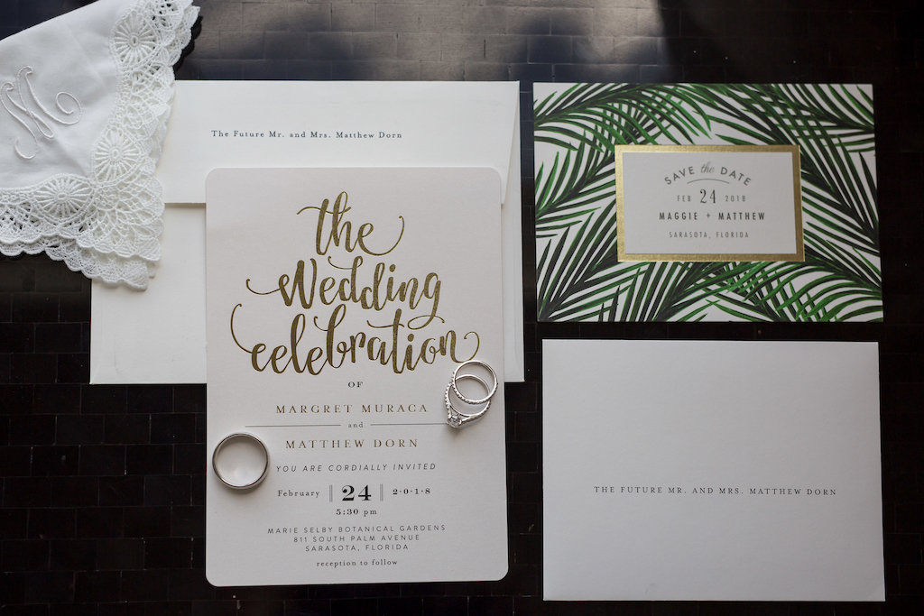 Elegant Modern Gold Foil on White Wedding Invitation and Tropical Inspired Save the Date | Tampa Bay Photographer Cat Pennenga Photography