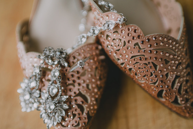 Rhinestone Pointed Toe Brown Wedding Shoes, Diamond Chandelier Earrings and Engagement Ring