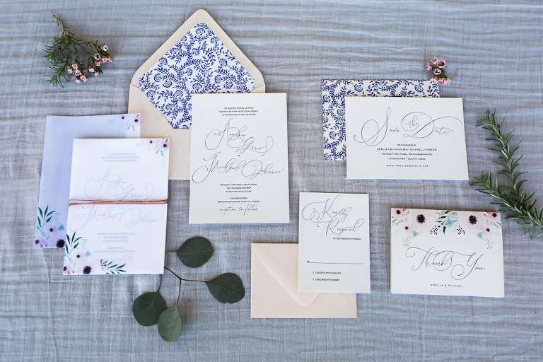 Vintage Inspired Blue and Floral Wedding Letterpress Invitation Suite | Tampa Bay Stationery A&P Design Co