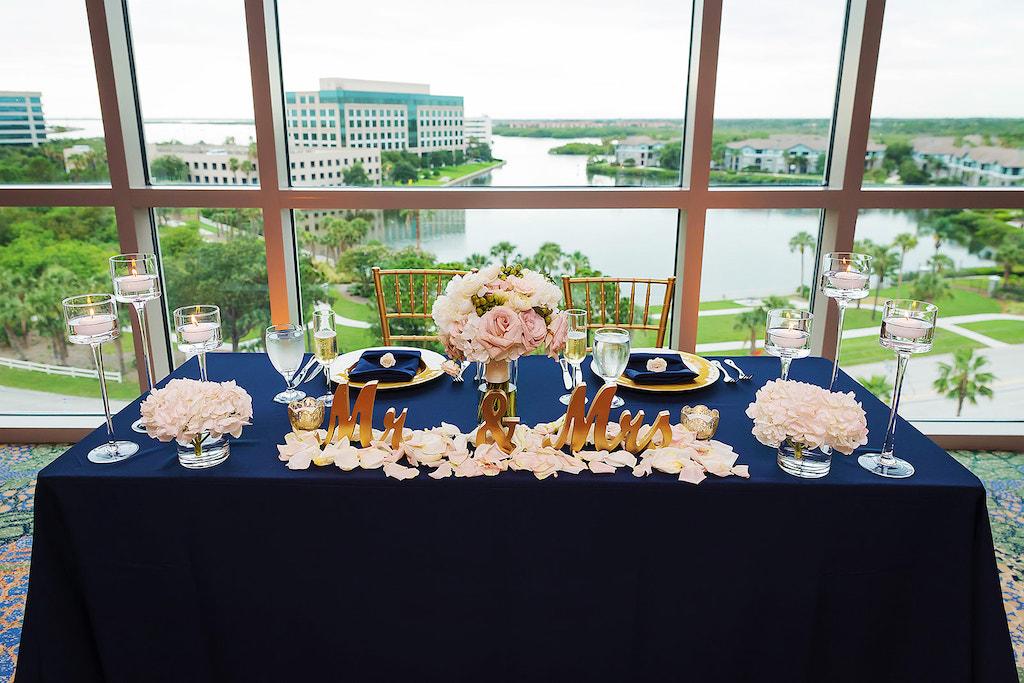 Ballroom Wedding Reception Decor Sweetheart Table With Navy Blue