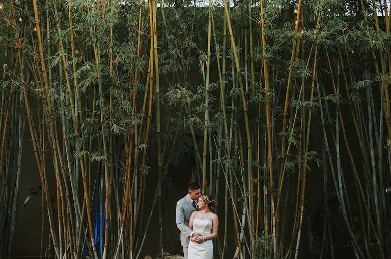 Bride and Groom Outdoor St. Petersburg Bamboo Garden Wedding Portrait | Tampa Bay Wedding Venue NOVA 535