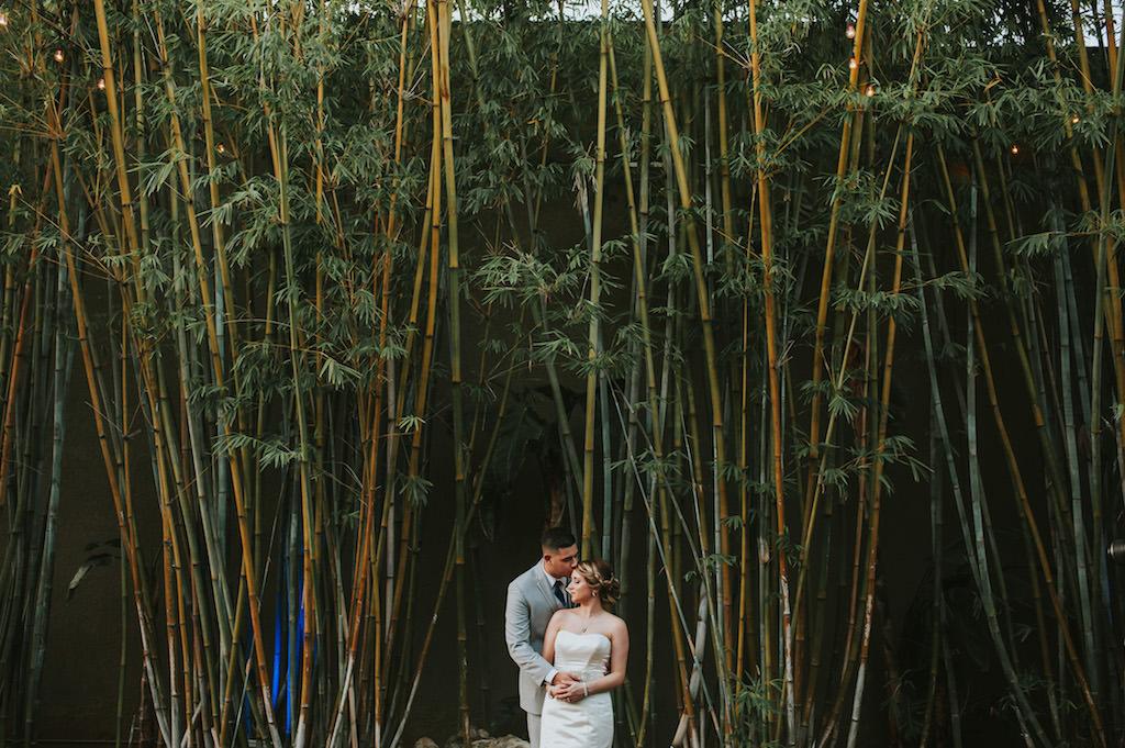 Bride and Groom Outdoor St. Petersburg Bamboo Garden Wedding Portrait   Tampa Bay Wedding Venue NOVA 535