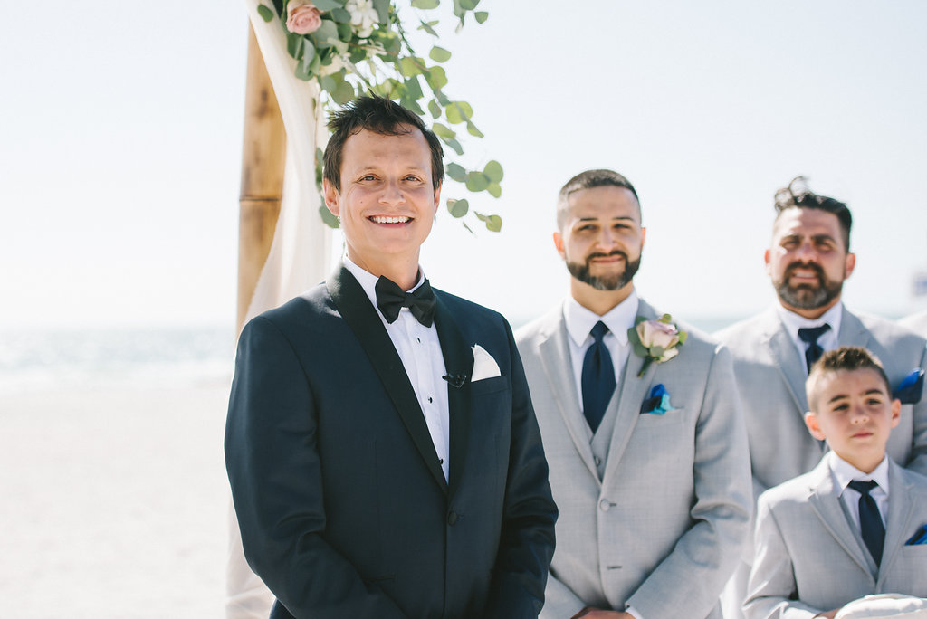 Florida Beach Ceremony Groom Watching Bride Walking Down the Aisle Reaction | Tampa Bay Photographer Kera Photography