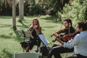Outdoor Sarasota Garden Style Wedding Ceremony Live Musicians | Tampa Bay Live Violin Quartet Music Sunset Strings