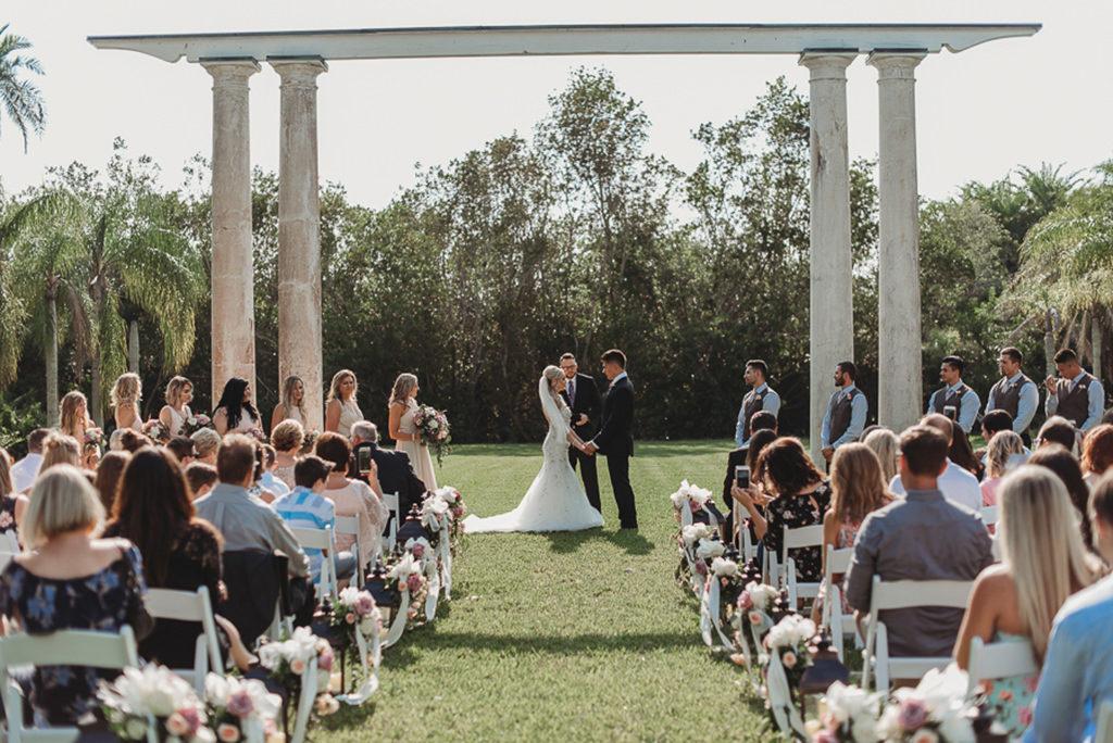 Florida Bride and Groom Outdoor Garden Style Wedding Ceremony Portrait | Sarasota Wedding Venue Historic Spanish Point