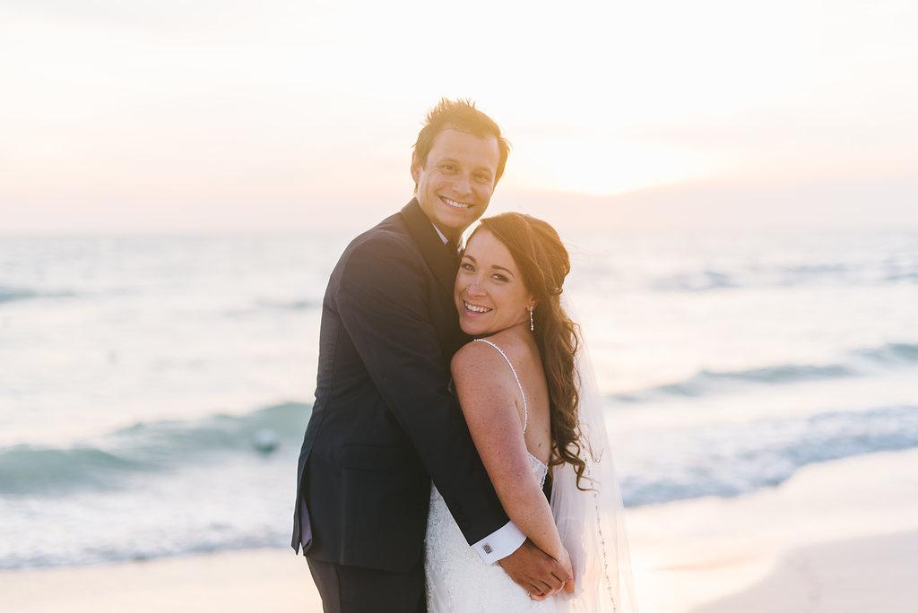 Florida Outdoor Beach Sunset Bride and Groom Wedding Portrait | Tampa Bay Photographer Kera Photography | St. Pete Beach Wedding Venue Tradewinds Island Resort | Hair and Makeup Michele Renee the Studio