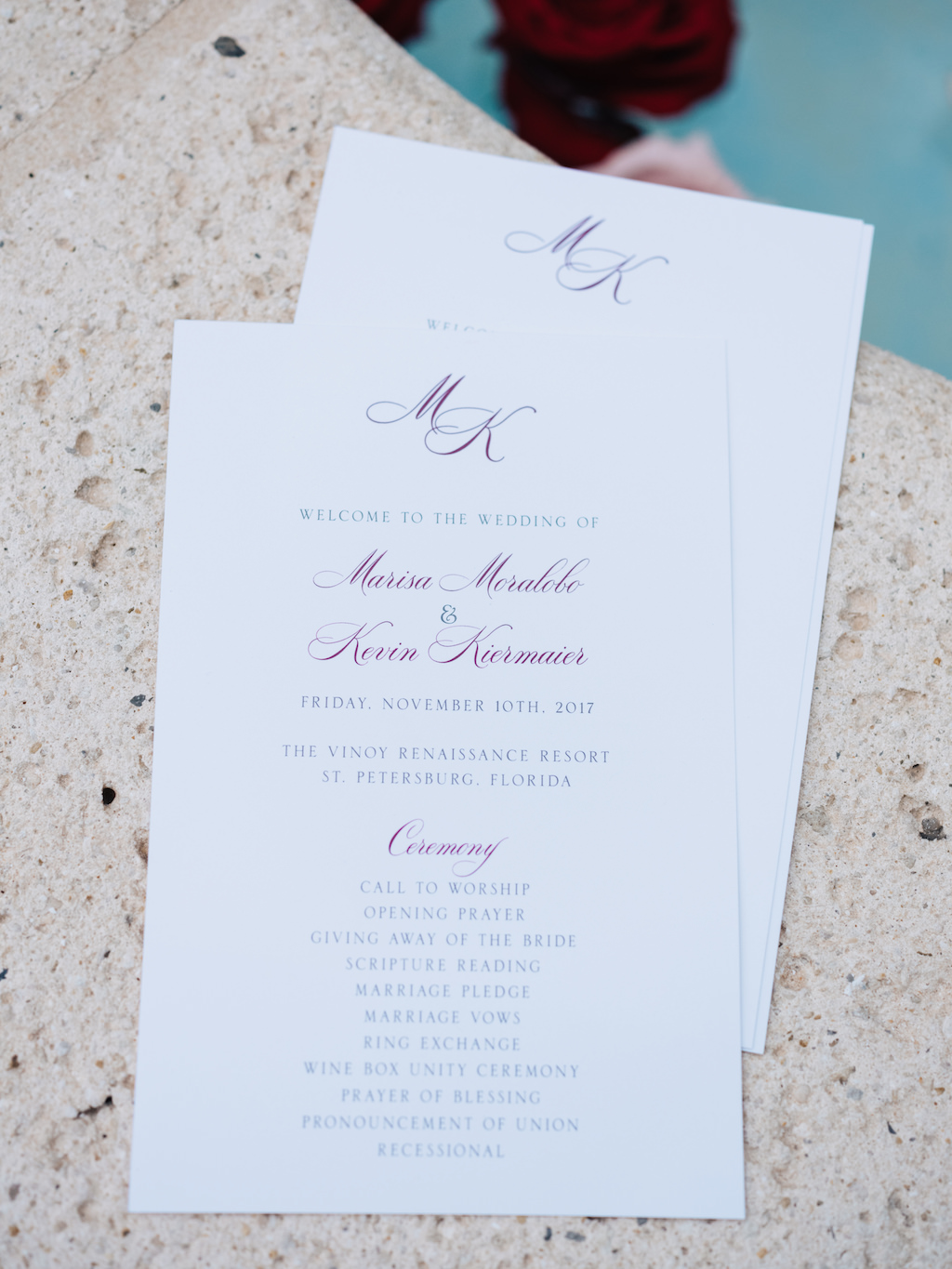Modern And Simple Wedding Ceremony Program White With