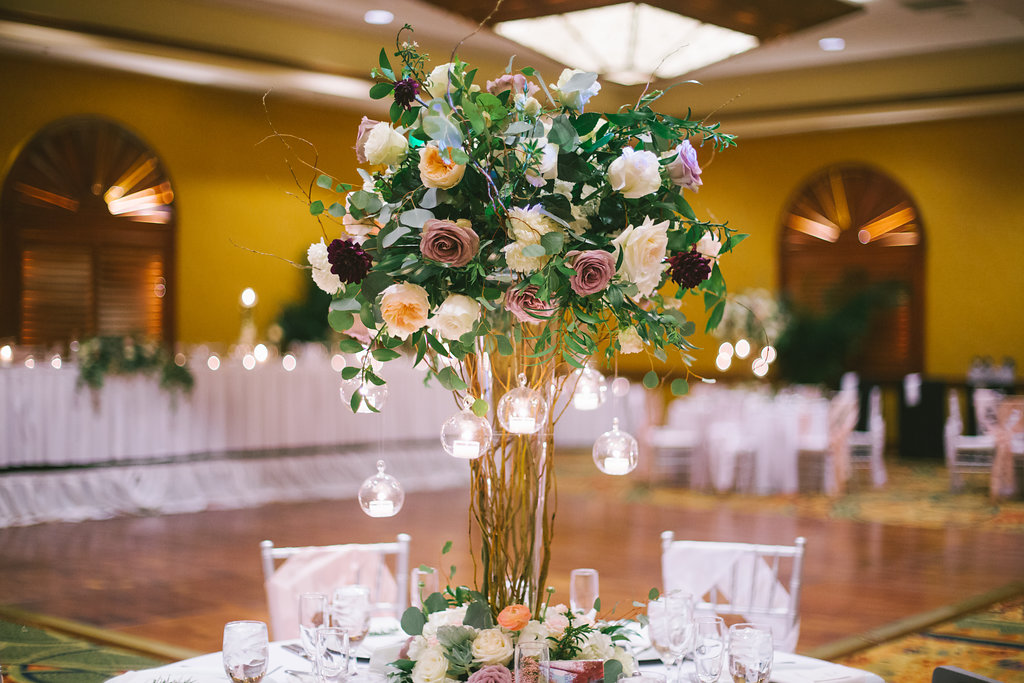 Ballroom Wedding Reception Decor Tall Wooden Branches Centerpiece