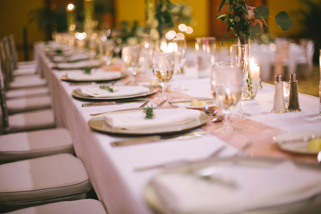 Ballroom Wedding Reception Decor, Long Feasting Table with Gold Chargers, White Linen, Blush Pink Table Runner | Tampa Bay Photographer Kera Photography | Rentals A Chair Affair