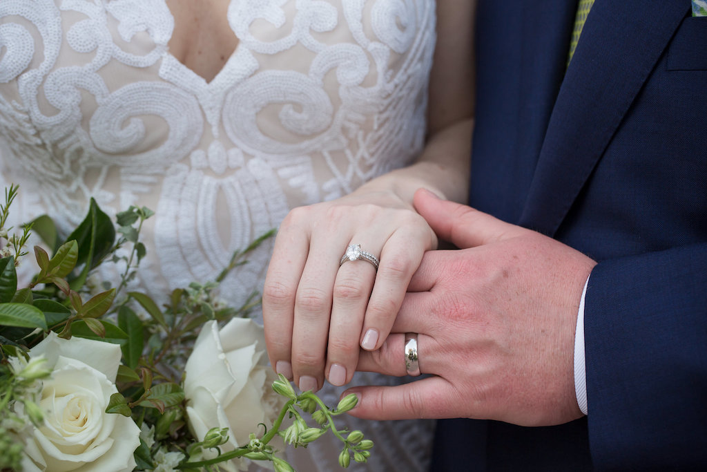 Bride and Groom Showing Wedding Rings Portrait | Tampa Bay Photographer Cat Pennenga Photography