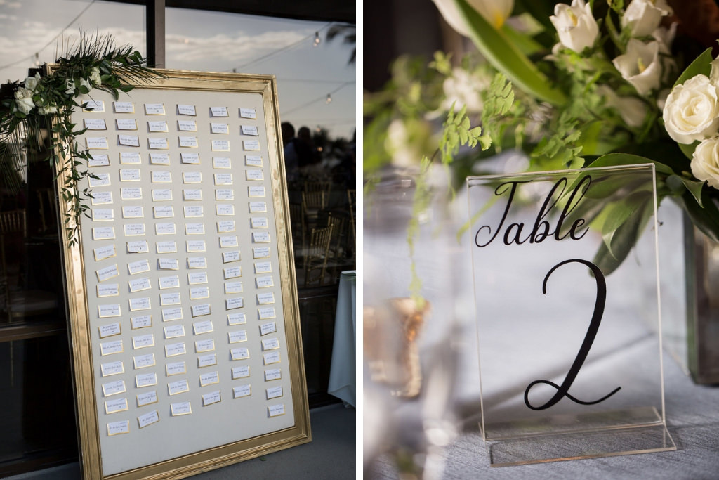 Elegant, Modern Wedding Reception Decor, Seating Chart on Tall Gold Frame and Greenery Bouquet, Clear Acrylic and Black Script Font Table Number | Tampa Bay Photographer Cat Pennenga Photography | Sarasota Wedding Planner NK Productions