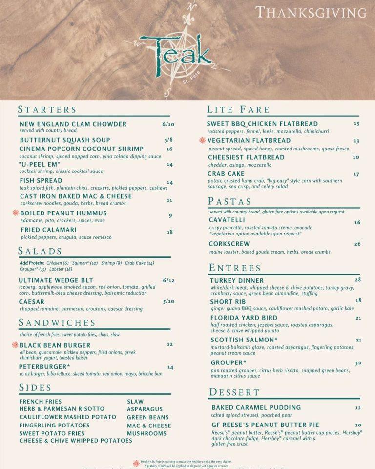 Teak at the St. Pete Pier Thanksgiving Menu 2020 | Downtown St. Pete Restaurant