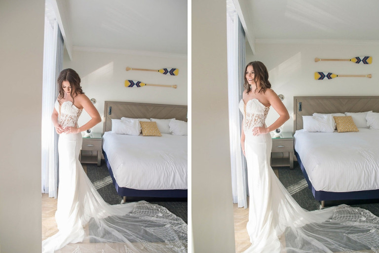 Bride Getting Ready Portrait in Strapless Illusion Lace Bodice Wedding Dress with Tulle Train | Tampa Wedding Photographer Kristen Marie Photography | Tampa Wedding Shop Truly Forever Bridal | Hair and Makeup Michele Renee the Studio