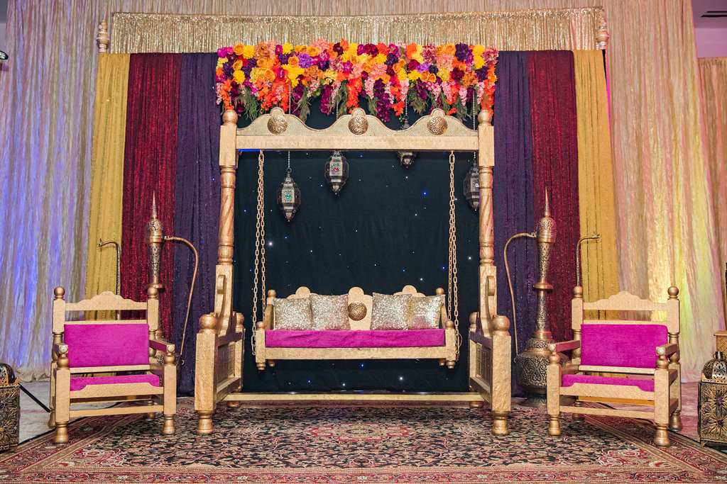 Glamorous Indian Wedding Reception Decor Gold Swing With Purple And