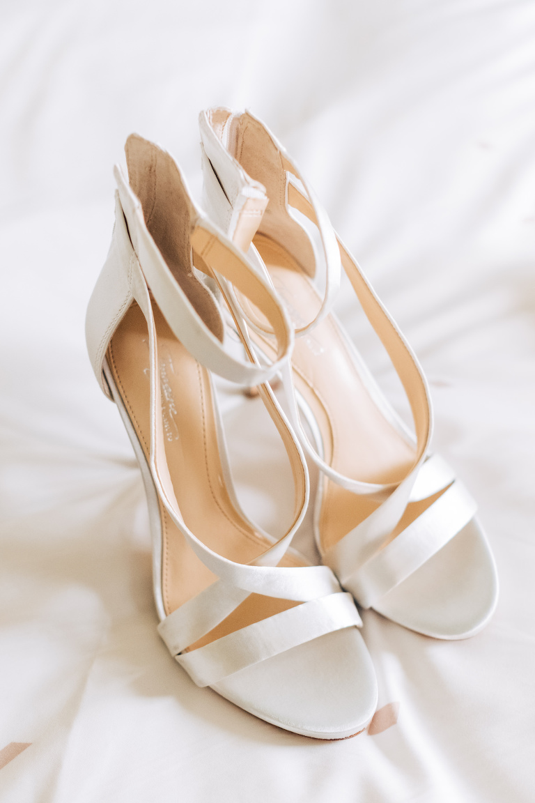 White Ivory Satin Strappy Sandal Heel Wedding Shoes