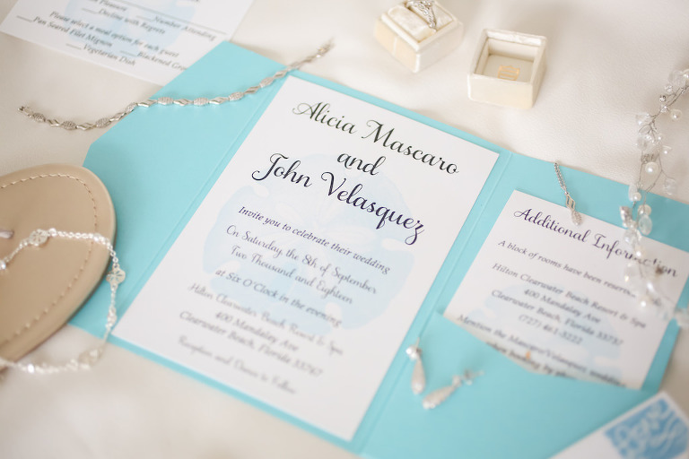 Beach Coastal Inspired Teal and White Wedding Invitation | Tampa Bay Wedding Photographer Lifelong Photography Studios