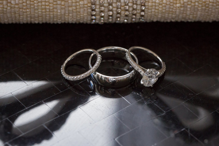 Oval Diamond Engagement Ring with Diamond Band and Bride and Groom Wedding Rings | Tampa Bay Photographer Cat Pennenga Photography