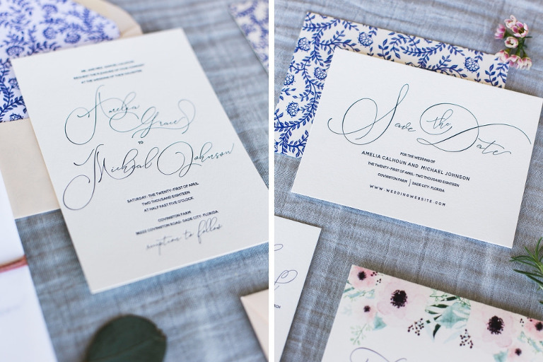 Vintage Inspired Blue and Floral Letterpress Wedding Invitation Suite | Tampa Bay Stationery A&P Design Co