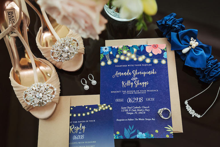 Blue and Floral Wedding Invitation, Royal Blue Sating Garter with Pearls, Diamond Earrings and Necklace, Badgley Mischka Peep Toe Strappy Nude/Peach Wedding Shoes with Rhinestone Accent