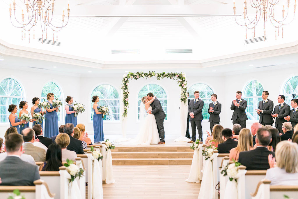 Bride and Groom Wedding Ceremony First Kiss Portrait | Clearwater Wedding Ceremony Venue Harborside Chapel