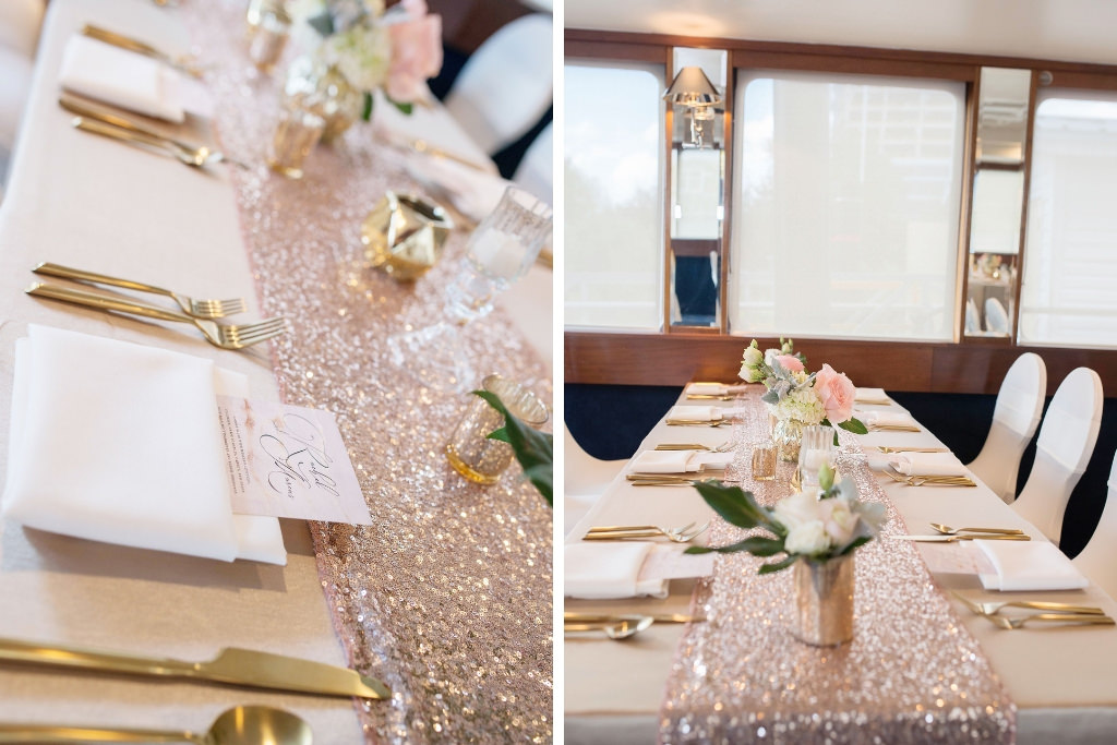 Elegant Wedding Reception Decor Gold Tablecloths Chairs With